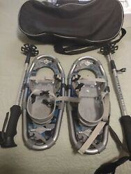 LL Bean Winter Walker Snow Ice Shoes 16 Grey W poles and bag Great condition $69.99