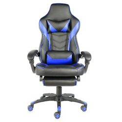 C type Foldable Nylon Foot Racing Chair with Footrest Black amp; Blue $164.95