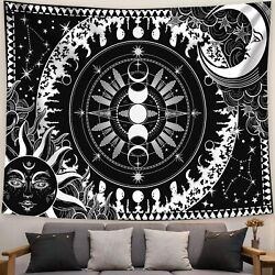 Black and White Tapestry Goth Moon Sun Tapestry Wall Hanging for Bedroom $15.99