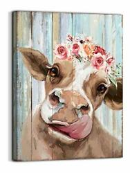 Country Farmhouse canvas Printing Rustic Bedroom Decor Retro Cow Wall Art Home $22.77