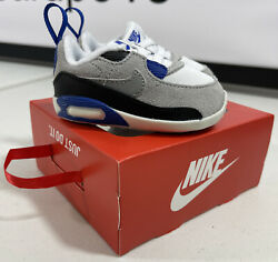 Infant Nike Max 90 Crib CB Baby Shoes White Grey Blue CI0424 103 Size 3c