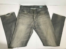 G Star Mens 3301 Straight Jeans Gray Size 32x34 Distressed $33.99