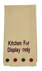 Bramble quot;Kitchen For Display Onlyquot; Embroidered Dishtowel 20x28 Tan Red Black $8.95
