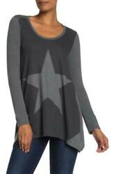 Go Couture Women M Charcoal Gray Star Long Sleeve Handkerchief Tunic Sweater Top $17.96