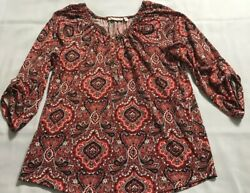 Notations Blouse Top Womens Large Red 3 4 Sleeve Print Stretchy $12.95