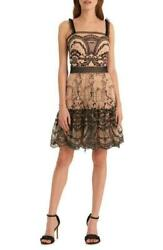 ML Monique Lhullier Womens 12 Jet Black Nude Embroidered Mesh Fit amp; Flare Dress $61.70