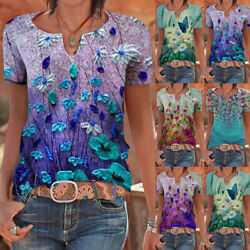 Summer Women Casual Floral V Neck T Shirt Short Sleeve Blouse Loose Tunic Top US $13.89
