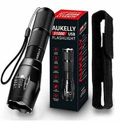 LED Flashlight Rechargeable Flashlights High Lumens USB Waterproof Zoomable New $21.98