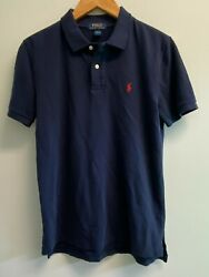 EUC Ralph Lauren BOYS Size L 14 16 Polo Shirt Navy Mesh Cotton Red Pony $13.05