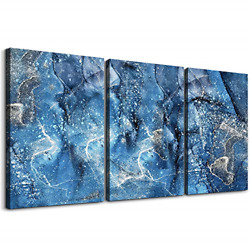 Blue Abstract Canvas Wall Art Wall Decor For Living Room Modern Wall Decorations $39.46