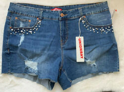 Union Bay NWT Womens Cut Off Jean Shorts Distressed plus size 18 Embellished $24.89