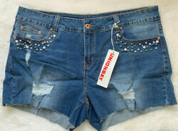 Union Bay NWT Womens Cut Off Jean Shorts Distressed plus size 16 Embellished $24.89