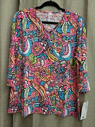 Lulu B Size XL Colorful Floral Design V Neck Blouse