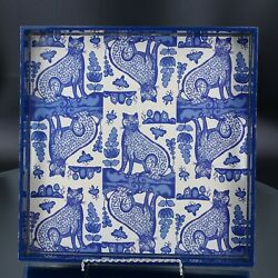 Rock Flower Paper Blue and White cat Leopard Serving Tray Kitchen Dinning $35.00