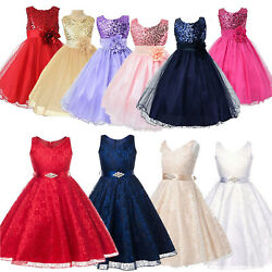 Girls Kids Princess Dress Formal Wedding Bridesmaid Party Sequins Ball Dresses