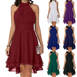 For Women Formal Sleeveless Halter Neck Swing Dress Evening Party Cocktail Prom $24.49
