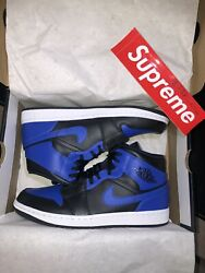 "Air Jordan 1 Mid ""Hyper Royal Black"" Size: 10.5M 12W SKU: 554724 077 *IN HAND*"