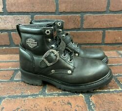 Harley Davidson Black Leather Motorcycle Riding Boots Women#x27;s Size 7 $59.96