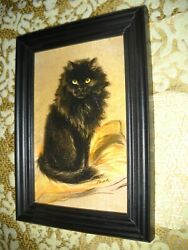 BLACK CAT SITS ON PILLOW 4 X 6 black WOOD framed picture Vintage art print $14.99