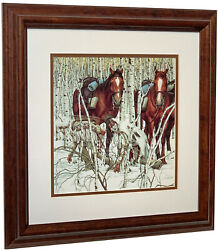 BEV DOOLITTLE Two Indian Horses Detail Matted amp; Framed Art Print $79.99