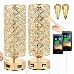 Touch Control USB Crystal Table Lamp Sets Dimmable Nightstand Lamp with Dual $68.90