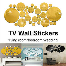 30X 3D Home Mirror Tiles Wall Stickers Self Adhesive Bedroom Art Decal New $16.04