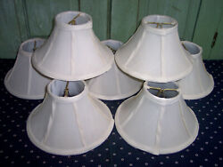 7 Clip On Light Lamp Chandelier Shades Paneled Bell Shaped Fabric $25.00