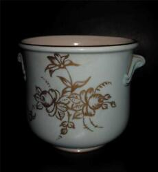 Vintage Mid Century Modern Light Turquoise Blue Pottery Handles Gold Flowers $16.99