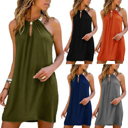 Womens Sexy Halter Mini Dress Summer Casual Beach Holiday Loose Party Dresses $20.29