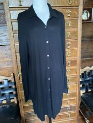 J Jill Womens Size M Long Black Button Front Tunic Long Sleeves Travel May fit L $17.00