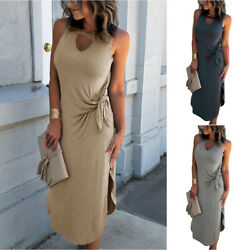 Women Summer Sleeveless Lace Up Dress Holiday Beach Formal Party Maxi Dresses $22.99