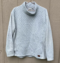 LL Bean Women#x27;s Light Heathered Gray Quilted Funnel Neck Pullover Sweater Size L $39.99