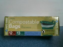 Eco Safe 6400 100% Compostable Bags for Food Waste 13 Gallon 12 bags FS $9.25