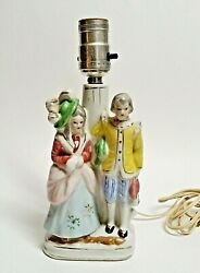 Vintage Victorian Couple Porcelain Lamp Made In Japan Working Condition $12.00
