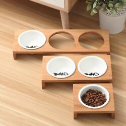 Elevated Pet Bowls Raised Dog Cat Feeder Solid Bamboo Stand Ceramic Food Feeding $23.08