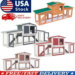 80.3quot; Outdoor Large Rabbit Hutch Chicken Coop Wood Small Animal Habitat Cage $172.21