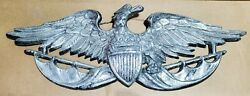 Cast Metal American Eagle Wall on flag pole Hanging Plaque 24quot; Japan MBC 1055 $39.99