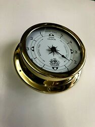 Tide Clock 5.7 inch Brass with glass lens new Tells high and low Tides $49.00