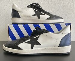 Golden Goose GGDB Ball Star Men's White Black Distressed Sneakers Size 45 US 12 $350.00