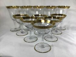 Antique Crystal Stemware Glasses Gold Plated Wine Champagne Glass 11 Pieces $165.00