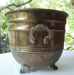 Vintage Brass Footed Flower Pot Planter With Handles $25.00