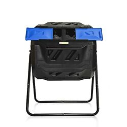 Large Compost Tumbler Bin Outdoor composter Garden Rotating Dual Compartment $139.22
