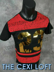 Mens Extended T Shirt Black Red Raised 3D Gold Foil 23 with Zips VICTORIOUS $21.95