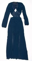Reformation Blue Long Sleeve Waist Cut Out Plunge Slit Gown Dress Maxi Size XS $47.99
