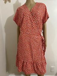 NEW OLD NAVY Short Sleeve Dolman Wrap Dress Red Ditsy Floral Plus Size XXL $25.99