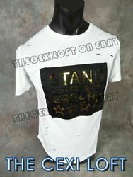 Mens Extended T Shirt STAND YOUR GROUND White 3D Gold Decal Shreds Hip Hop $18.49