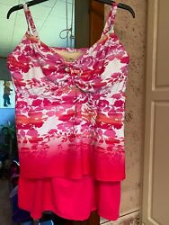 Swimsuits for All Women#x27;s 2 pc.Swimsuit Pink amp; White Skirted Size 24 D DD NWOT $39.99