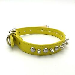"""OmniPet Dog Leather Collar Yellow Studded with Spikes Signature Leather Size 22"""" $12.90"""