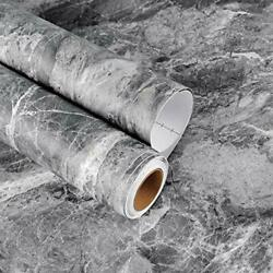 Thick Marble Countertop Contact Paper 17.7x118 inch Grey Granite Peel and $19.39