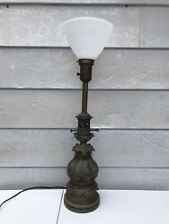 """Vintage MCM Torchiere Torch Brass Floor Lamp 29.5"""" Tall $99.99"""
